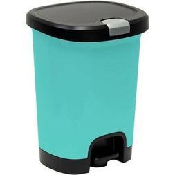 Trash Can 7 Gallon Lid Lock Liner Blue Bottom Cap Office Kit