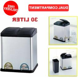 Trash Can 8 Gallon 30 Liter Stainless Steel Dual Compartment