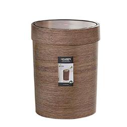 HMANE 10L Trash Can with Swing Top,Plastic Retro Style Wood