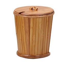 AIDELAI Trash can- Bathroom Trash Can Tea Bucket Bamboo Smal