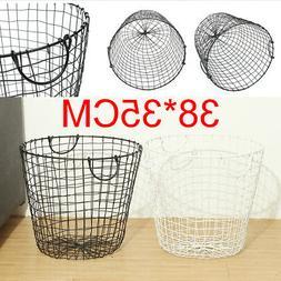 Trash Can Bedroom Garbage Waste Bin Wire Basket Mesh Laundry