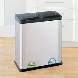 Trash Can Recycle Bin Combo With Lid Stainless Steel 16 Gall
