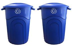 United Solutions 32 Gal. Outdoor Trash Can Recycling in Blue