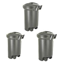 31 Gallon Trash Can Rolling 3-Pack Set Garbage Container Pet