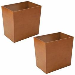 mDesign Trash Can Wastebasket Garbage Container, Bamboo Vene