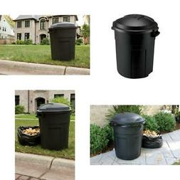 Trash Can with Lid 20 Gal Round Outdoor Yard Waste Recycle B
