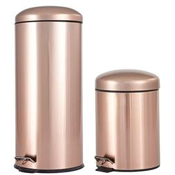 BrylaneHome Set of 2 Step Trash Cans