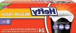 Hefty Medium Trash Bags 8 Gallon - All Purpose, Flap Tie, 24