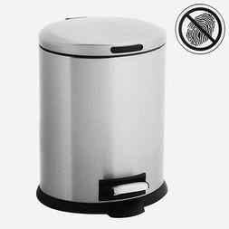 Home Zone Stainless Steel Kitchen Trash Can with Oval Design