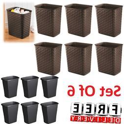 Trash Waste Basket Set Of 6 Can Plastic Office Bathroom Garb