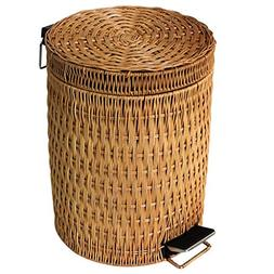 AIDELAI trasn can- Rattan Pedal Trash Can, with Lid Home Liv
