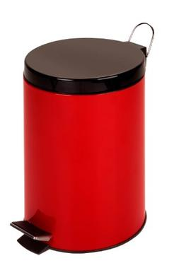 Honey-Can-Do TRS-02073 12L Step Trash Can Red