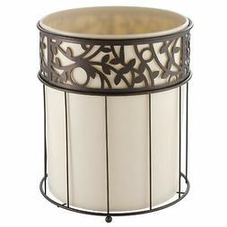 InterDesign Vine Wastebasket Trash Can, Vanilla/Bronze