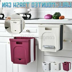 Wall Mounted Foldable Kitchen Cabinet Hanging Trash Can Coll