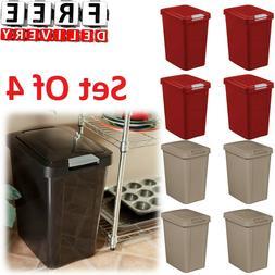 Waste Basket Lid Set Of 4 Can Trash Plastic Office Bathroom