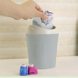 Waste Bin Desktop Garbage Basket Table Roll Swing Lid Mini T