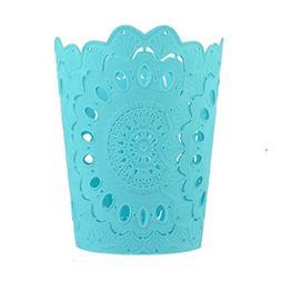 Wastebasket,Hmane PP Hollow Pattern Solid Color Paper Basket