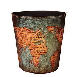 Wastebasket, Samyoung European Style World Map Pattern PU Le