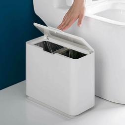 Rectangular Plastic Trash Can Wastebasket W Press Lid Garbag