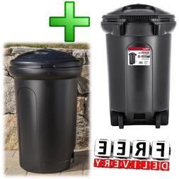 Wheeled Trash Can 2 Piece 32Gal Outdoor Waste Garbage Bin Re