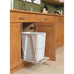 White Garbage Bin Wooden Kitchen Trash Can Storage 13 Gal Or