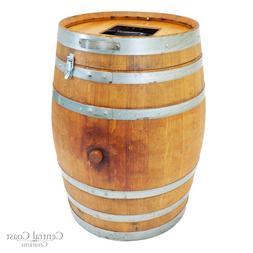Wine Barrel Trash Can Rustic Furniture With Lid Decor Rack F