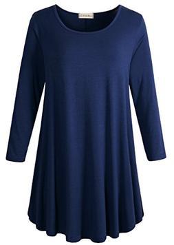 LARACE Women 3/4 Sleeve Tunic Top Loose Fit Flare T-Shirt