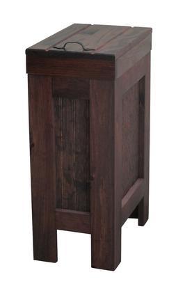 Wood Trash Can Kitchen Garbage Can Rustic Wood Trash Bin Red