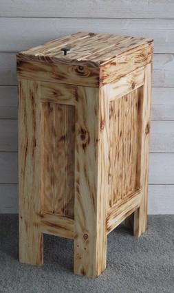 Wood Trash Can Kitchen Garbage Can Rustic Wood Trash Bin Bur